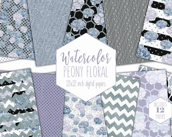 SILVER WATERCOLOR FLORAL Digital Paper Pack Blue Gray Peony Backgrounds Commercial Use Peonies Stripe Metallic Flowers Scrapbook Patterns
