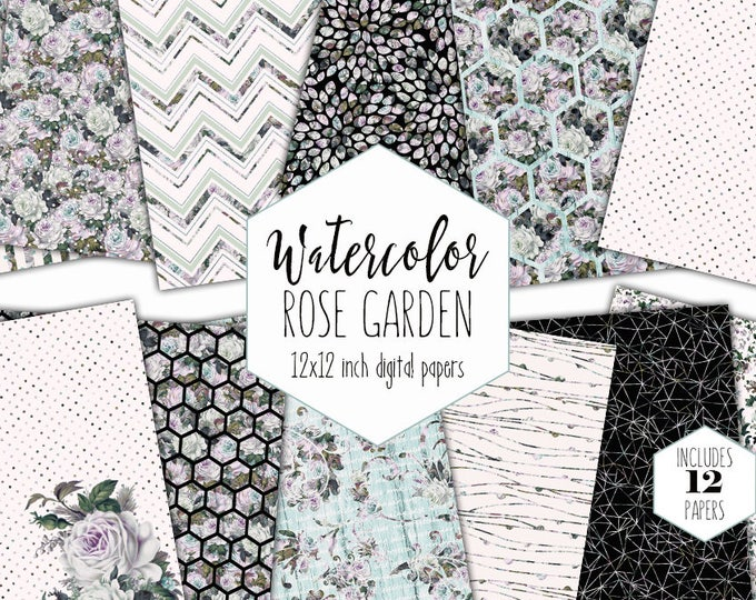 MINT WATERCOLOR ROSE Digital Paper Pack Commercial Use Backgrounds Floral Garden Scrapbook Paper Shabby Chic Wood Flower Hexagon Patterns