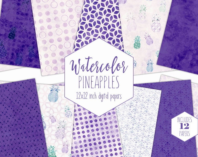 PURPLE TROPICAL WATERCOLOR Digital Paper Pack Commercial Use Pineapple Clipart Backgrounds Beach Scrapbook Papers Fun Geometric Patterns