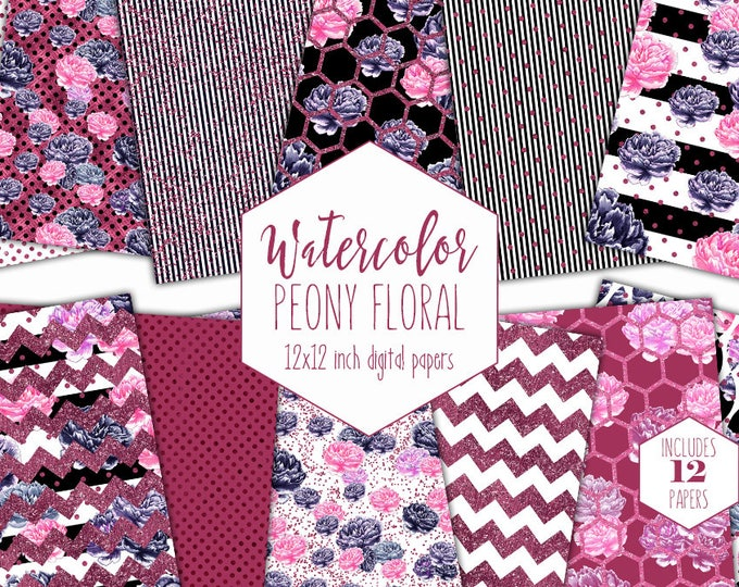 BURGUNDY WATERCOLOR FLORAL Digital Paper Pack Navy Blue Pink Peony Backgrounds Commercial Use Peonies Scrapbook Paper Stripe Flower Patterns