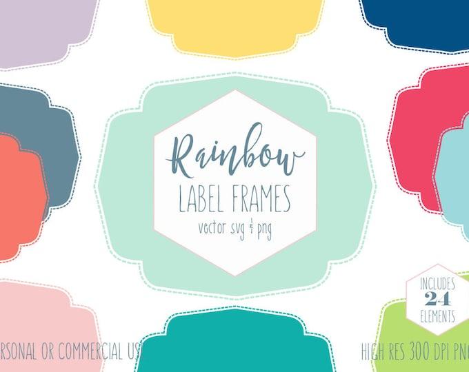 DIGITAL LABEL FRAME Clipart for Commercial Use Planner Sticker Clip Art Rainbow Colors Stitched Border Vector Digital Graphics Label Svg