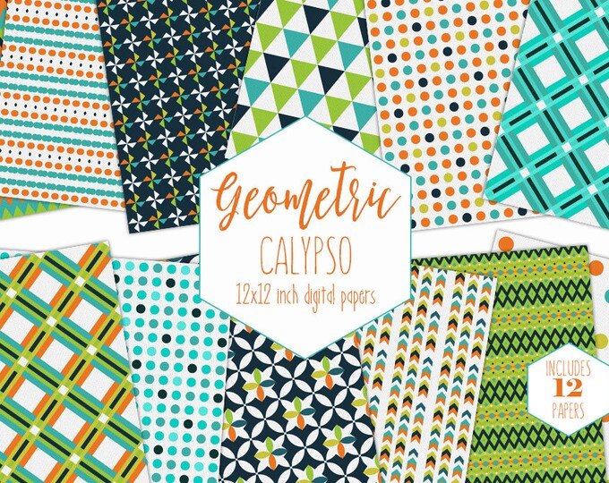 LIME GREEN & NAVY Blue Digital Paper Pack Orange Backgrounds Boys Scrapbook Papers Geometric Plaid Patterns Birthday Party Printable Clipart