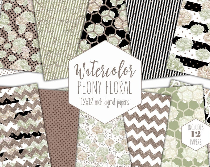 METALLIC PEONY FLORAL Digital Paper Pack Black White Mint Rose Gold Commercial Use Backgrounds Watercolor Peonies Stripe Scrapbook Patterns