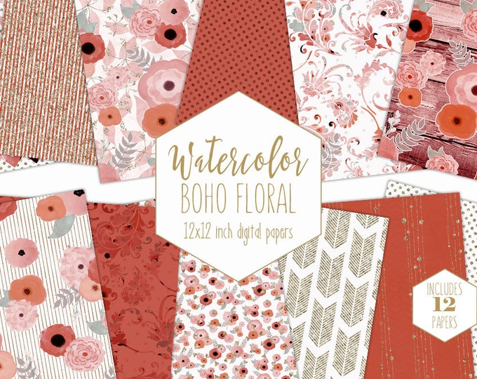 PEACH WATERCOLOR FLORAL Digital Paper Pack Blush Pink Rust Gold Metallic Commercial Use Backgrounds Wood Bohemian Wedding Scrapbook Patterns