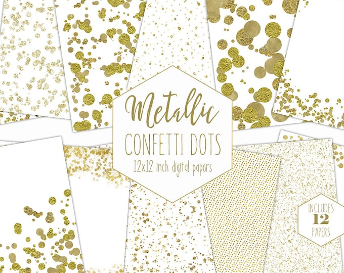 WHITE & GOLD FOIL Digital Paper Pack Metallic Confetti Backgrounds Wedding Scrapbook Papers Dot Patterns Party Printable Commercial Use