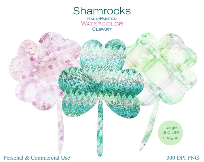 WATERCOLOR SHAMROCKS Clipart Commercial Use Clipart St. Patrick's Day Clipart 50 Set 4 Four Leaf Clover Clipart Graphics Geometric Shamrocks