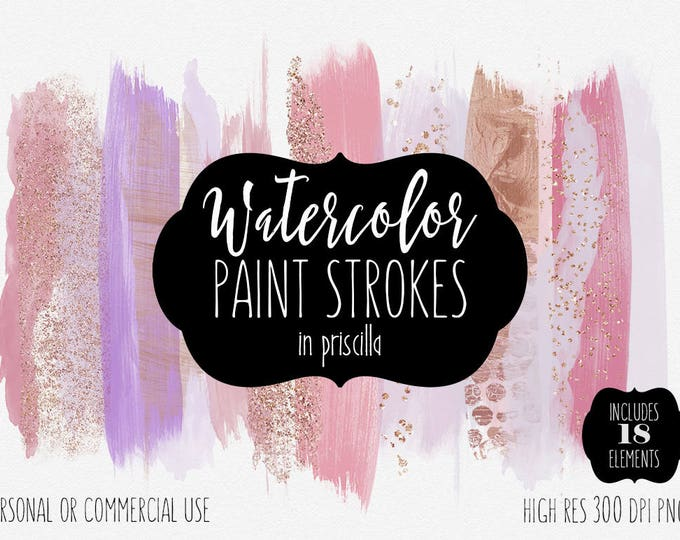 BLUSH WATERCOLOR BRUSH Strokes Clipart Commercial Use Clip Art Paint Strokes Blush Pink Rose Gold Confetti Watercolor Washes Logo Graphics