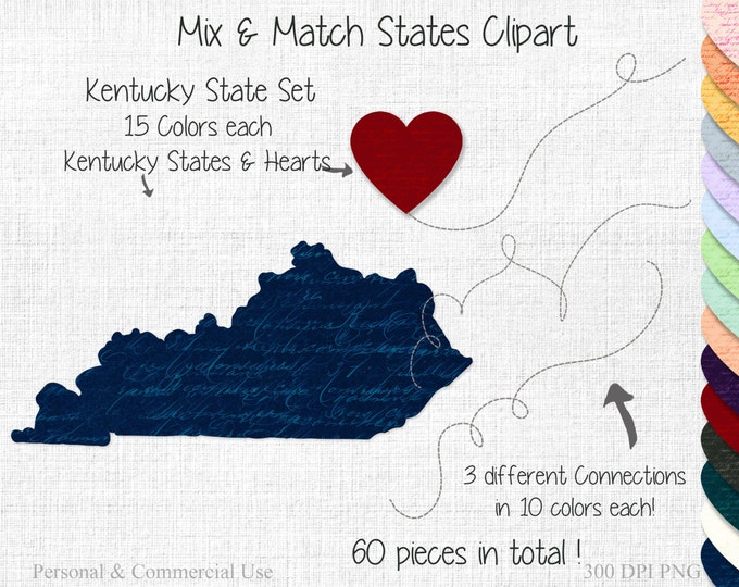 KENTUCKY STATE to STATE Clipart Commercial Use Clipart Mix & Match Home States Wedding Clipart Kentucky Map Kentucky Valentine's Day Clipart