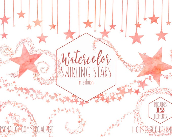 SALMON WATERCOLOR STAR Clipart Commercial Use Clip Art Swirling Star Trails Celestial Coral Peach Confetti Baby Shower Invitation Graphics