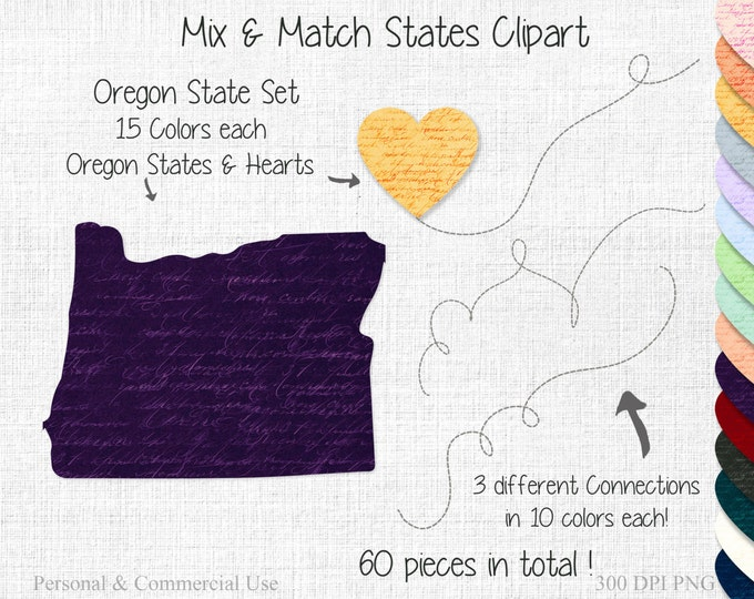 OREGON STATE to STATE Clipart Commercial Use Clipart Mix & Match Home States Wedding Clipart Oregon Map United States Shapes Clipart