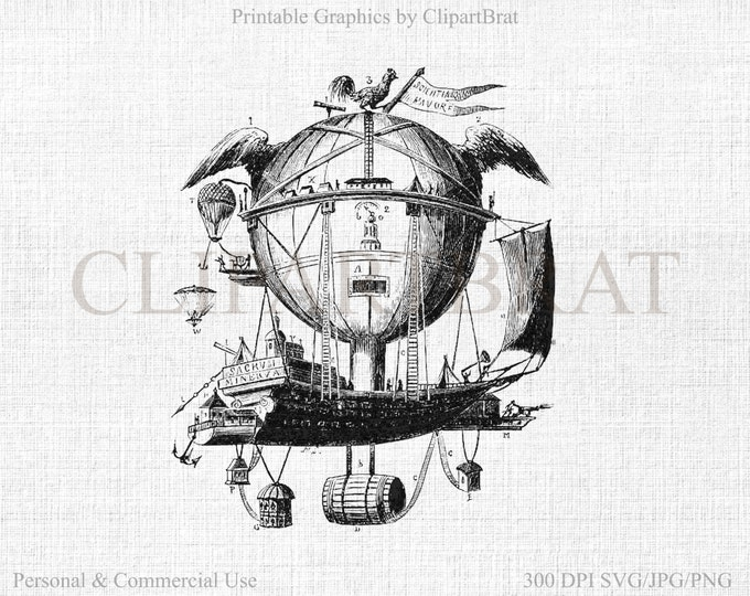 STEAMPUNK Hot Air Balloon Clipart Commercial Use Clipart AirShip Digital Collage sheet Fabric Transfer Digital Vector Graphic Jpg/Png/Svg