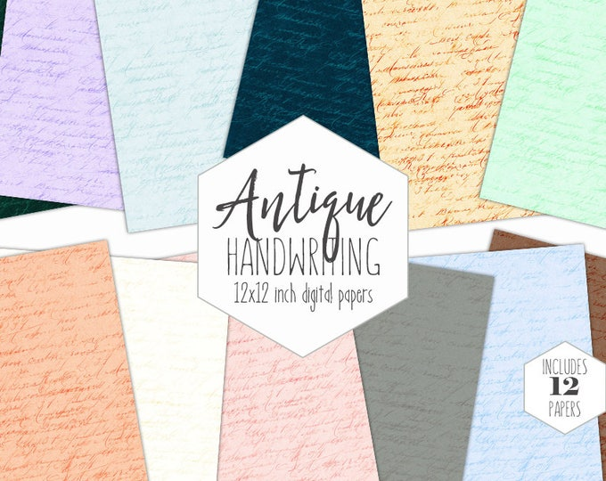 ANTIQUE HANDWRITING Digital Paper Pack Shabby Chic Backgrounds Wedding Scrapbook Paper Romantic Letter Patterns Written Words Pastel Clipart