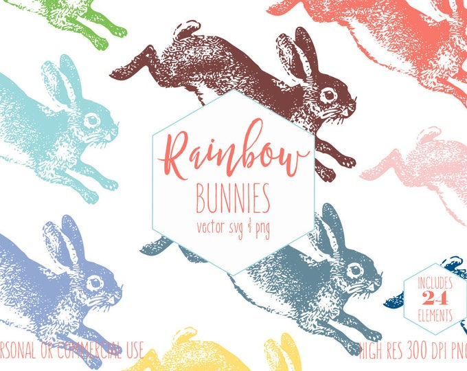 EASTER BUNNY RABBIT Clipart Rainbow Planner Sticker Clip Art for Kids Leaping Bunnies Invitation Digital Vector Graphics Svg Commercial Use