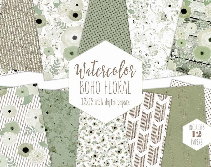 SAGE WATERCOLOR FLORAL Digital Paper Pack Green & Rose Gold Metallic Commercial Use Backgrounds Flower Scrapbook Paper Boho Wedding Patterns