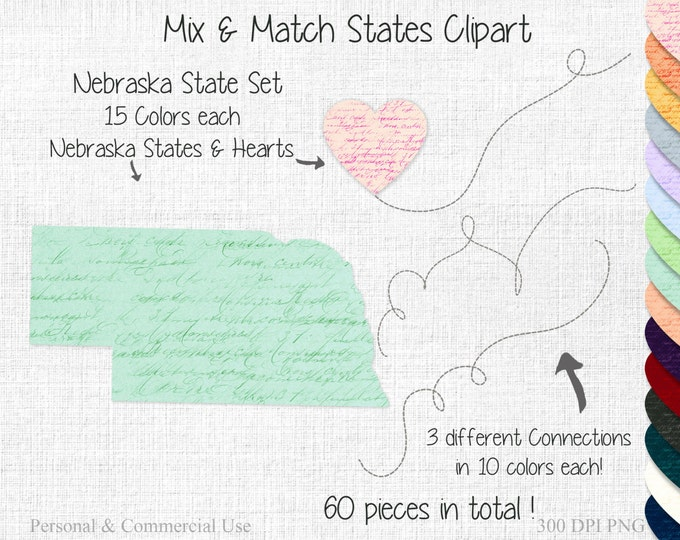 NEBRASKA STATE to STATE Clipart Commercial Use Clipart Mix & Match States Wedding Clipart Nebraska Map Two State Connected Valentine Clipart