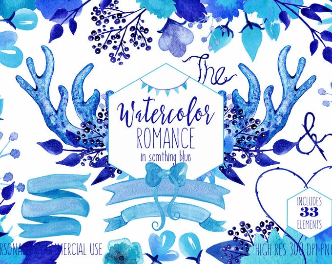 SOMETHING BLUE WATERCOLOR Floral Wedding Clipart Commercial Use Clip Art Rustic Deer Antler Bouquets Banners Backgrounds Wedding Graphics