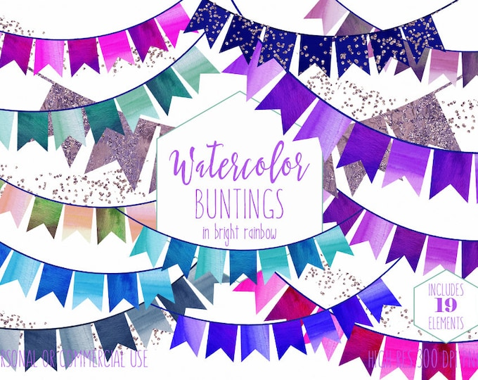RAINBOW BUNTING BANNER Clipart Commercial Use Clip Art Watercolor Double Tail Buntings & Glitter Confetti Birthday Party Invitation Graphics