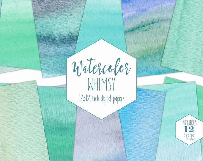 AQUA WATERCOLOR Digital Paper Pack Commercial Use Teal Green Backgrounds Blue Watercolor Wash Scrapbook Papers Ocean Beach Textures Clipart