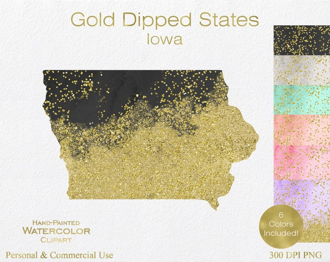 WATERCOLOR & GOLD IOWA Clipart Commercial Use Clipart United States Shape Wedding Clipart Gold Confetti Dust Iowa State Clip Art