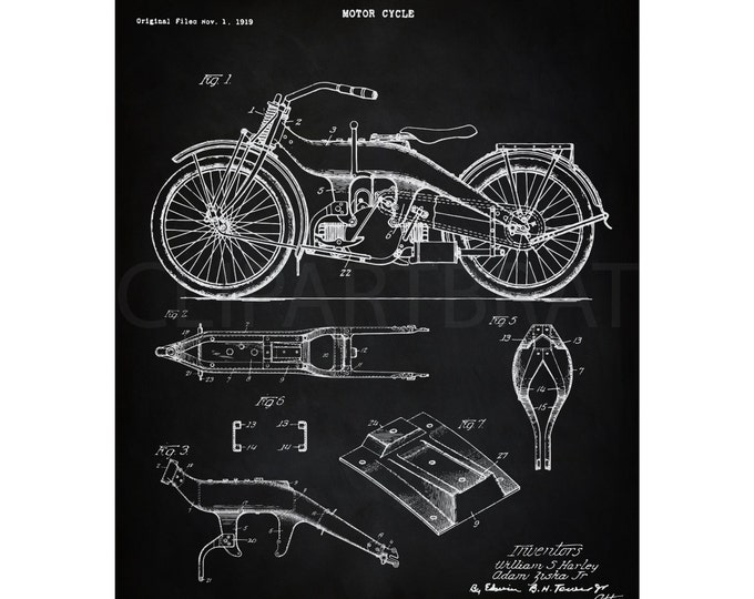 1924 HARLEY DAVIDSON Motorcycle Printable Art Intsant Download Man Cave Art Digital Print Vintage Harley wall Art Printable Poster Art