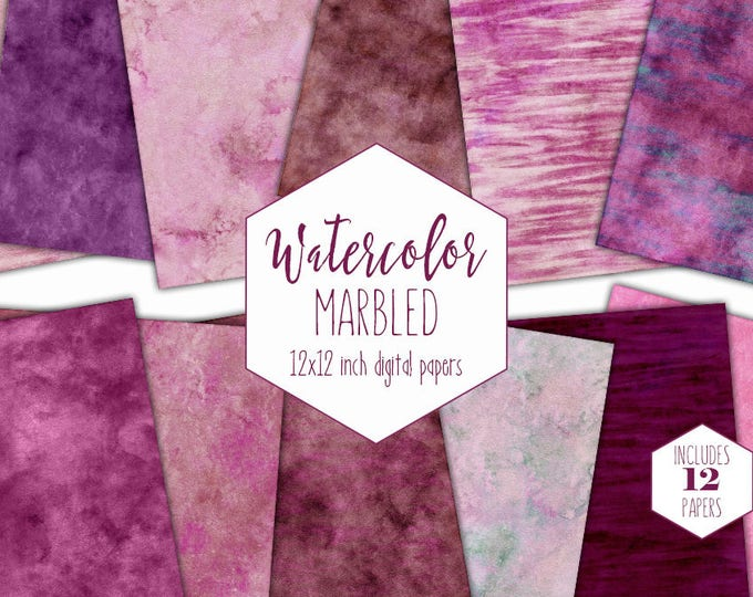 BURGUNDY WATERCOLOR MARBLE Digital Paper Pack Commercial Use Backgrounds Pink Stripe Scrapbook Paper Blush Marbled Watercolour Wash Textures