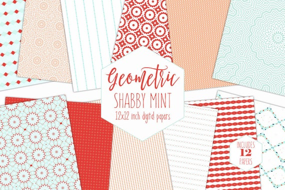 PEACH MINT Digital Paper Pack Shabby Chic Backgrounds Stripe
