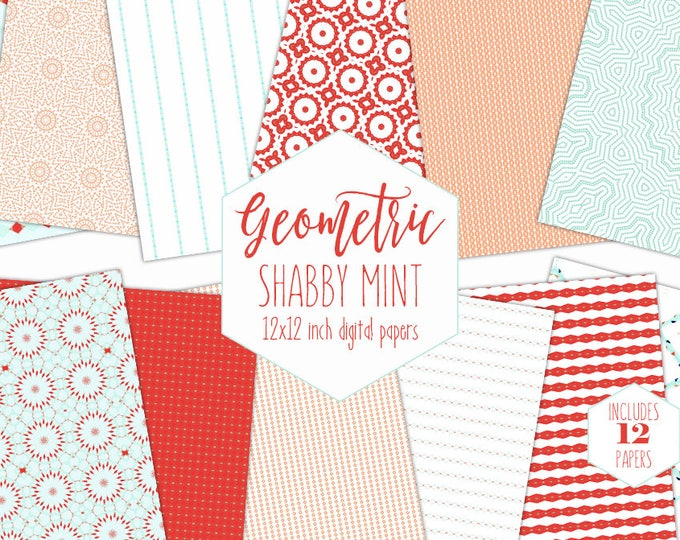 PEACH & MINT Digital Paper Pack Shabby Chic Backgrounds Stripe Mandala Scrapbook Papers Geometric Boho Patterns Party Printable Clipart