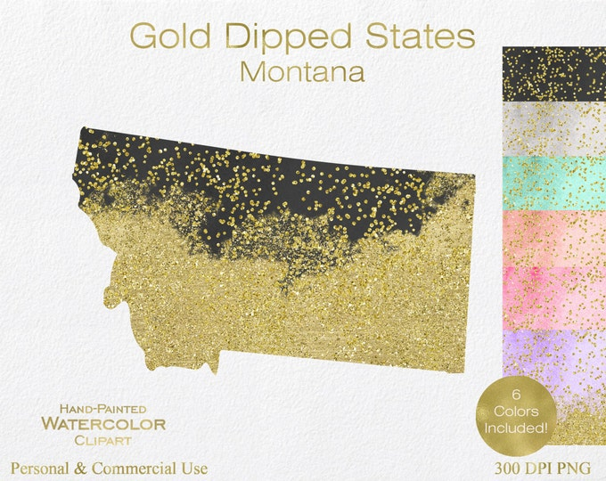 WATERCOLOR & GOLD MONTANA Clipart Commercial Use Clipart United States Shape Wedding Clipart Gold Confetti Dust Montana Clip Art Graphics