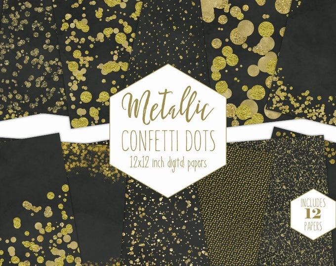 GOLD FOIL & CHARCOAL Digital Paper Pack Confetti Backgrounds Metallic Black Wedding Scrapbook Paper Dark Gray Party Printable Commercial Use