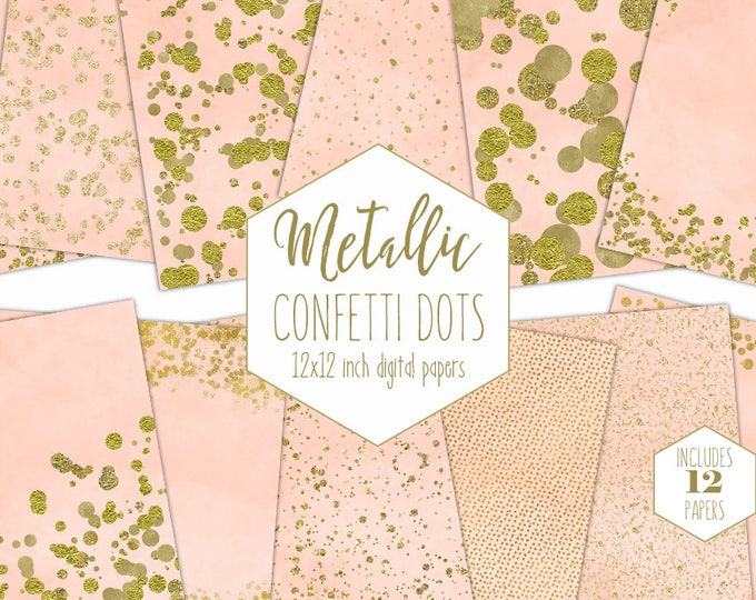 GOLD FOIL & PEACH Digital Paper Pack Confetti Backgrounds Metallic Scrapbook Paper Gold Dot Patterns Party Printable Commercial Use Clipart