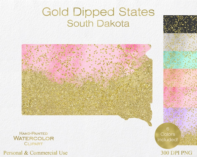 WATERCOLOR & GOLD South Dakota Clipart Commercial Use Clipart United States Shapes Wedding Clipart Gold Confetti Dust South Dakota Clip Art