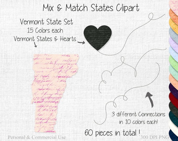 VERMONT STATE to STATE Clipart Commercial Use Clipart Mix & Match Home State Wedding Clipart Vermont Map Graphic United State Shapes Clipart