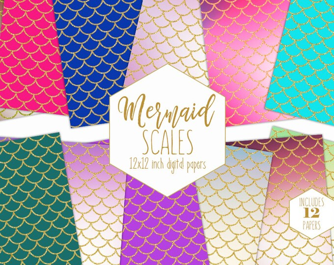 GOLD MERMAID SCALE Digital Paper Pack Ocean Fish Backgrounds Pink Teal Rainbow Scrapbook Paper Birthday Girl Pattern Party Printable Clipart