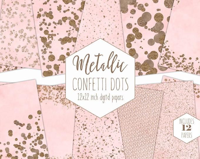 ROSE GOLD FOIL & Blush Pink Digital Paper Pack Confetti Dot Backgrounds Metallic Scrapbook Paper Wedding Patterns Party Printable Clipart