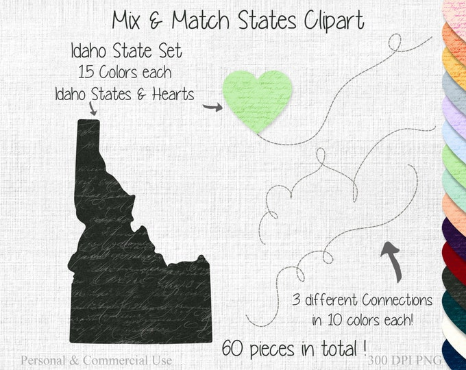 IDAHO STATE to STATE Clipart Commercial Use Clipart Mix & Match States Wedding Clipart Idaho Map Graphic Personalized Heart Map Clipart
