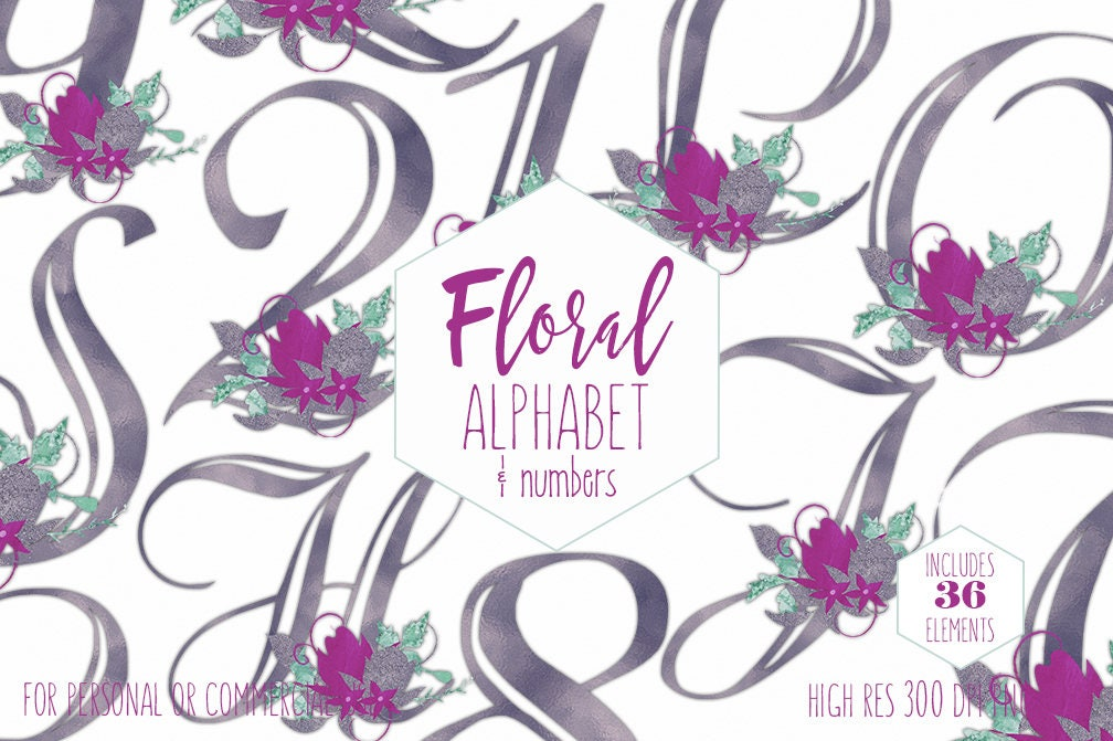 Purple Floral Alphabet Clipart For Commercial Use Foil