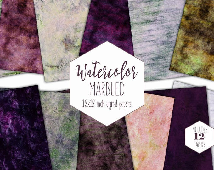 PURPLE WATERCOLOR MARBLE Digital Paper Pack Commercial Use Green Backgrounds Earth Tones Scrapbook Paper Gray Marbled Watercolor Textures