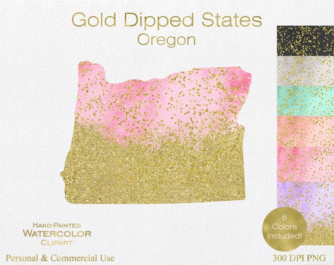 WATERCOLOR & GOLD OREGON Clipart Commercial Use Clipart United States Shapes Wedding Clipart Gold Confetti Dust Oregon Clip Art Graphics