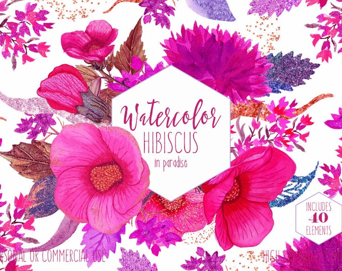TROPICAL WATERCOLOR FLORAL Clipart Commercial Use Clip Art Hibiscus Hawaii Flower Wreaths Bright Pink Fuchsia Confetti Invitation Graphics