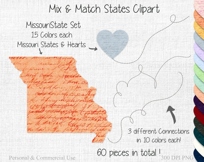 Missouri FRIENDS or COUPLES STATE Wedding Clipart Commercial Use Clipart Mix & Match Home State to State Missouri Clipart Valentine's Day