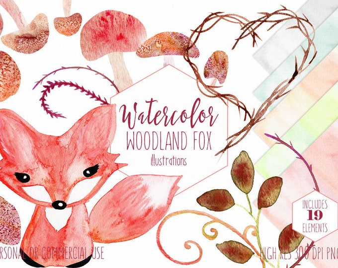 WOODLAND WATERCOLOR FOX Clipart Commercial Use Clip Art Cute Forest Fox Mushrooms Branches Heart Frame Vines Red Fox Animal Nature Graphics