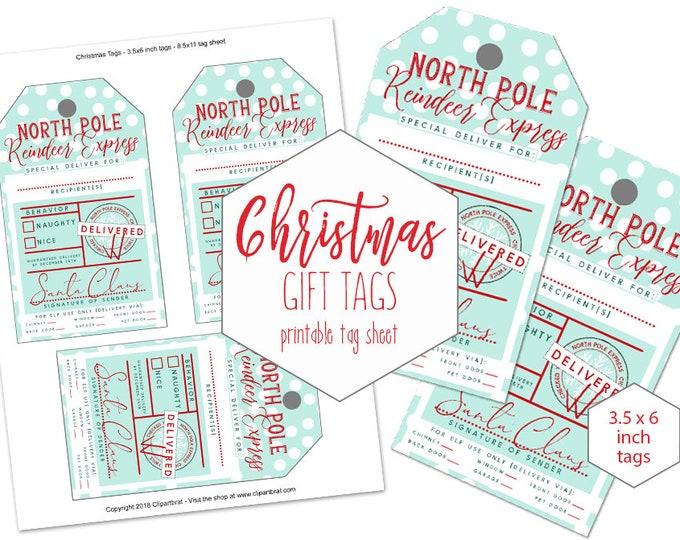 Printable Christmas GIFT TAG Sheet for Kids Large From Santa Claus North Pole Reindeer Express Naughty or Nice DIY Holiday Hang Tag Mint Dot