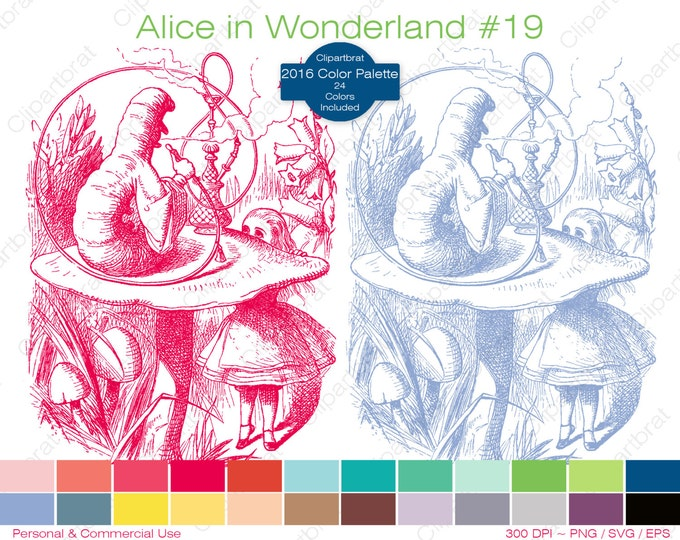 ALICE IN WONDERLAND Clipart Commercial Use Clipart Alice Caterpillar Graphic 2016 24 Color Palette John Tenniel Sticker Vector Png Eps Svg