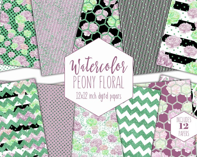 PURPLE & GREEN FLORAL Digital Paper Pack Watercolor Peony Flowers Commercial Use Backgrounds Stripe Polka Dot Scrapbook Patterns Clipart