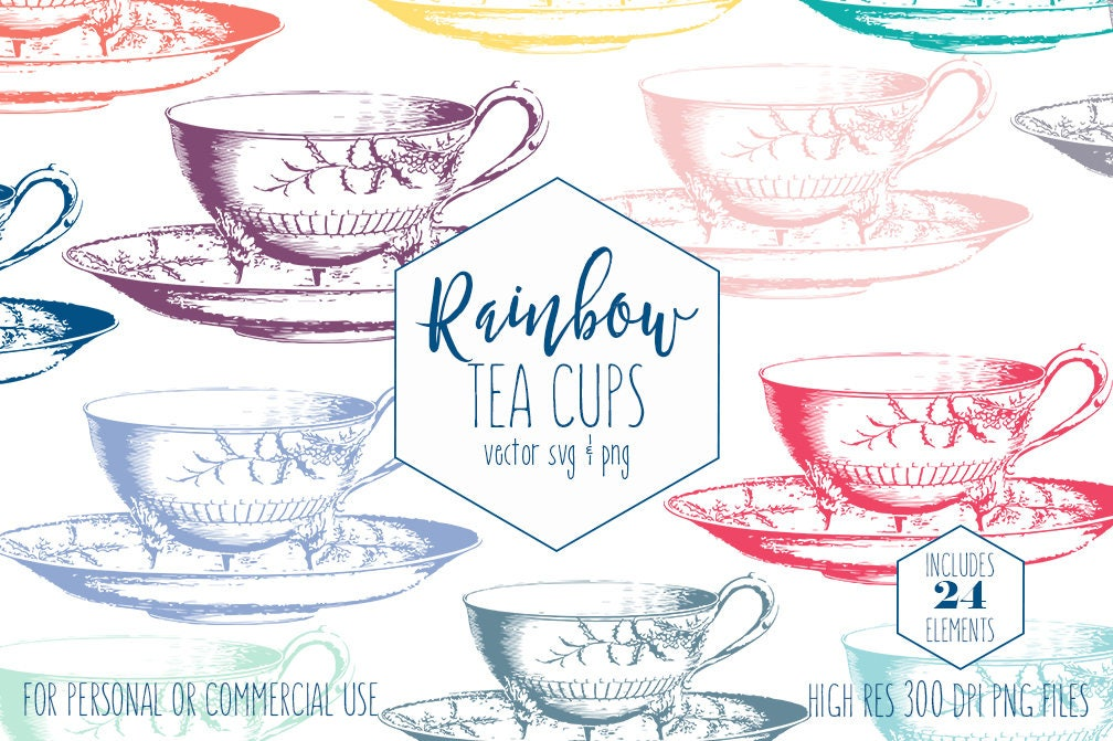 TEA CUP Clipart for Commercial Use Planner Clip Art