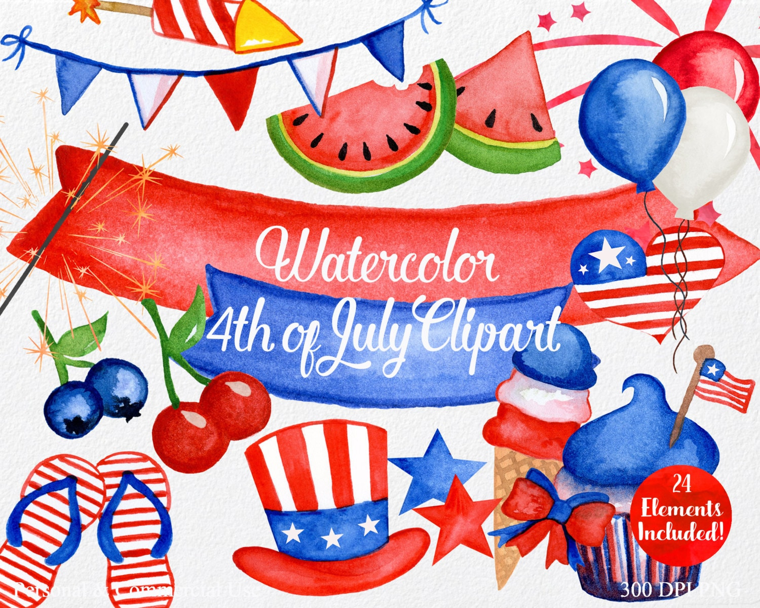 WATERCOLOR 4th of JULY Clipart Commercial Use Clipart 24 ...