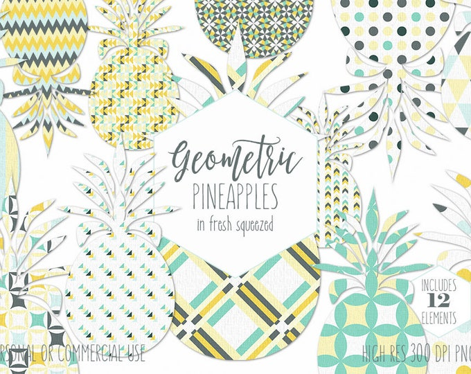 YELLOW TROPICAL PINEAPPLE Clipart for Commercial Use Planner Sticker Clip Art Gray & Mint Geometric Pineapples Summer Beach Digital Graphics
