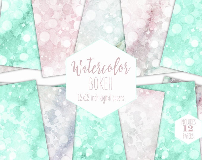 PINK & MINT WATERCOLOR Digital Paper Pack Commercial Use Blush Bokeh Backgrounds Baby Clipart Scrapbook Paper Bubble Dot Watercolor Textures
