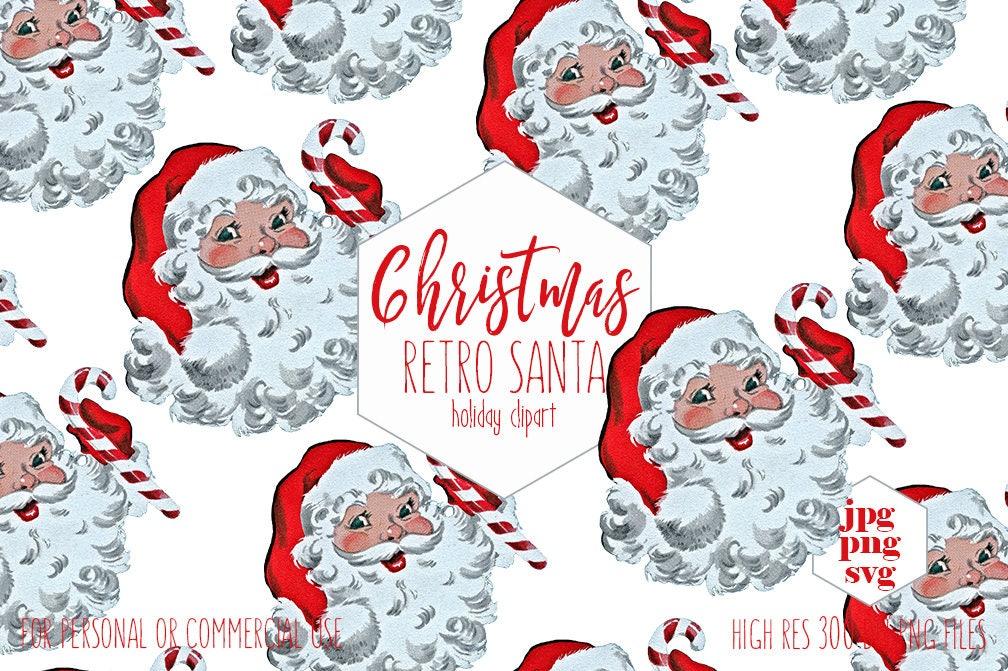 RETRO SANTA CLAUS Clipart Commercial Use Christmas Clip Art for Kids ...