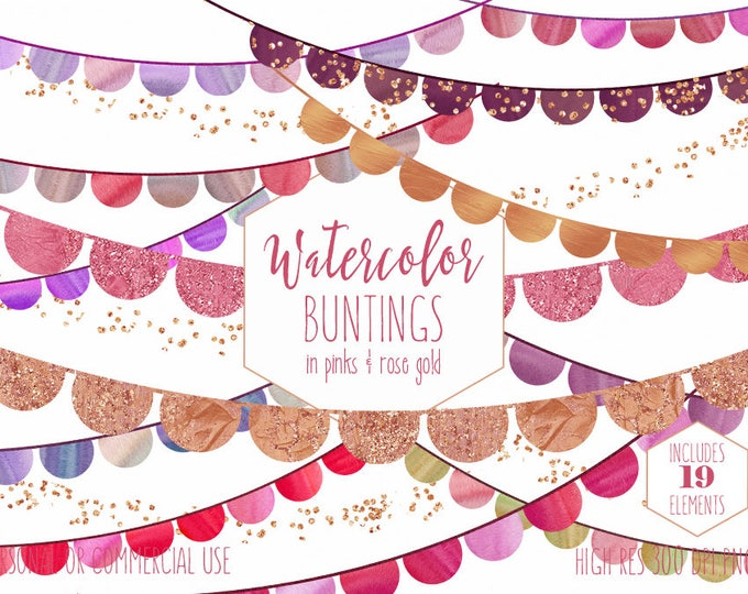 BUNTING BANNER CLIPART Commercial Use Watercolor Clip Art Pink & Rose Gold Half Circles Metallic Glitter Confetti Birthday Party Graphics